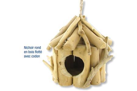 Nichoir rond en bois flott avec cordon nichoirs cages mangeoire pour ois - Nichoir en bois a decorer ...