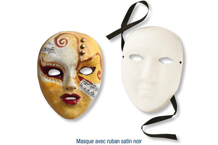 Masque en papier comprim recycl blanc avec ruban satin for Decorer un masque blanc