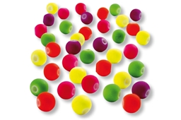 Perles rondes en acrylique couvertes de gomme douce, 5 couleurs fluos assorties