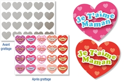 "Set de 40 gommettes stickers cœurs ""Message d'amour"" à gratter"