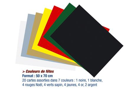 Set de 20 cartes fortes 50 x 70 cm, couleurs de fêtes assorties