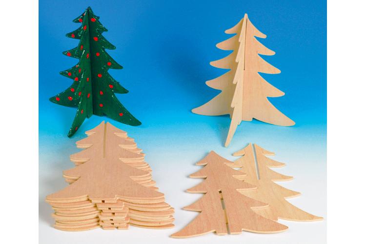 Set de 2 ou 10 sapins en bois naturel motifs plats en - Sapin en bois a decorer ...