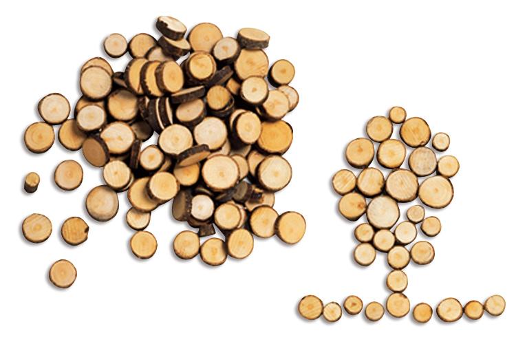 Rondelles de bois en ligne Diamtre cm - Dcoration