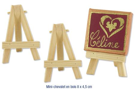 Set de 2 mini-chevalets en bois naturel 7,5 x 5 cm