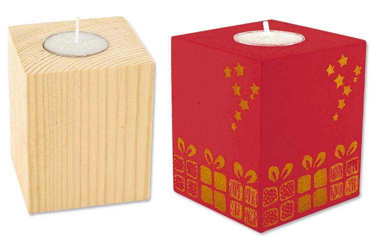 Bougeoir cubique en bois pour bougie chauffe plat for Porte bougie en bois