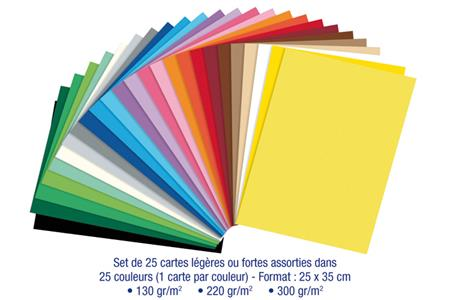 Set de 25 cartes légères ou fortes, 25 couleurs vives assorties