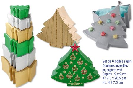 Set de 6 bo tes sapins en carton couleurs m tallis es assorties bo tes c - Sapin en carton a decorer ...
