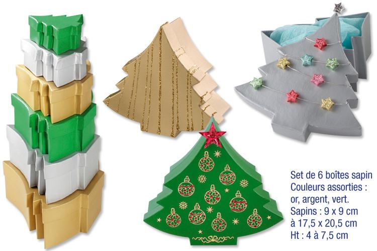 Set de 6 bo tes sapins en carton couleurs m tallis es for Sapin en carton a decorer