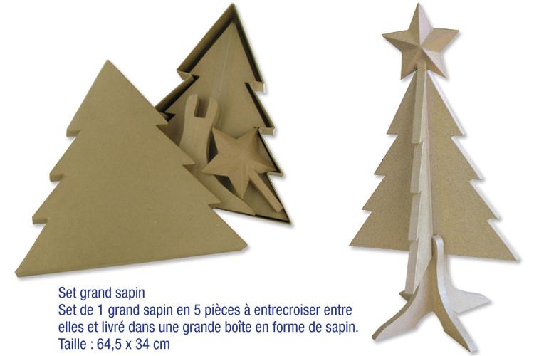 Set grand sapin en carton papier m ch braderie 10 doigts for Sapin en carton a decorer