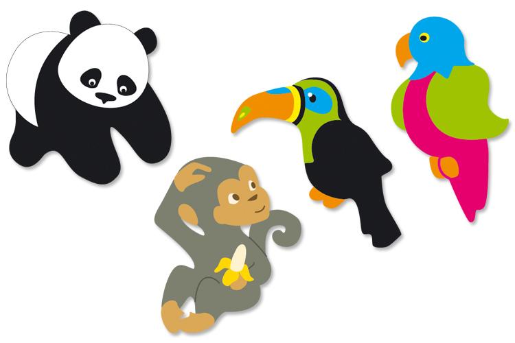 Set De 8 Animaux De La Jungle En Bois D Cor 3 5 Cm Motifs Plats Ou 3 D En Bois D Cor En Set