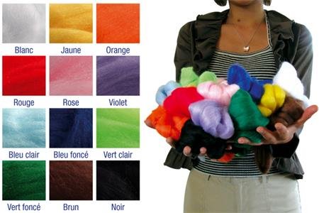 Set de 350 gr de mèches de laine, 12 couleurs assorties