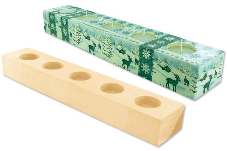 Bougeoir en bois avec 5 bougies chauffe plat bougeoirs for Porte bougie en bois