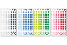 Set de 147 stickers mosaïques, en camaieux de couleurs assorties