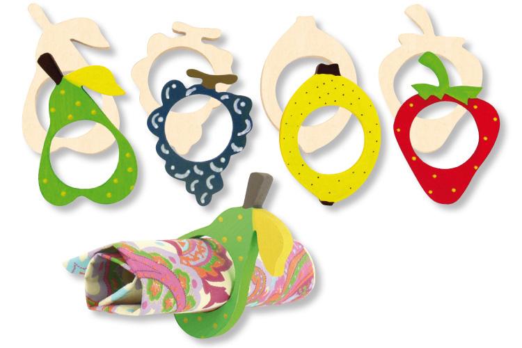 Ronds de serviette fruits en bois ronds de serviette - Rond de serviette en bois a decorer ...
