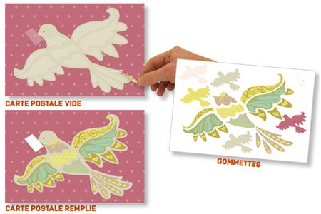 Set carte postale Oiseau messager