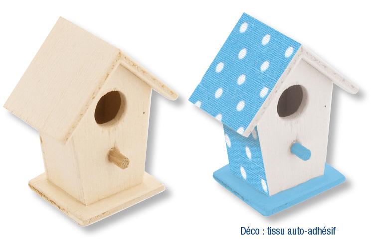 Nichoir En Bois A Peindre : Set de 2 mini-nichoirs ? oiseaux ? poser, en bois avec d?coupe