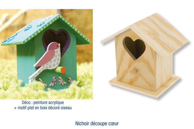 Nichoir En Bois A Decorer : Nichoir ? oiseaux ? poser, en bois avec d?coupe coeur : Nichoirs